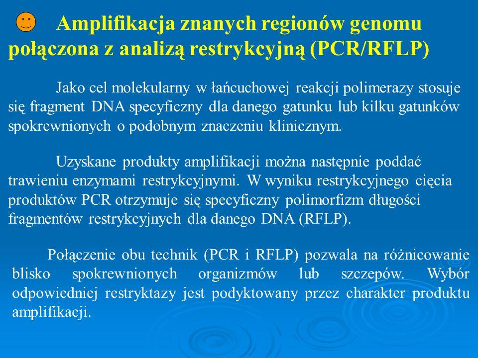 Amplifikacja znanych regionów genomu połączona z analizą restrykcyjną (PCR/RFLP) Jako cel molekularny w łańcuchowej reakcji polimerazy stosuje się fra