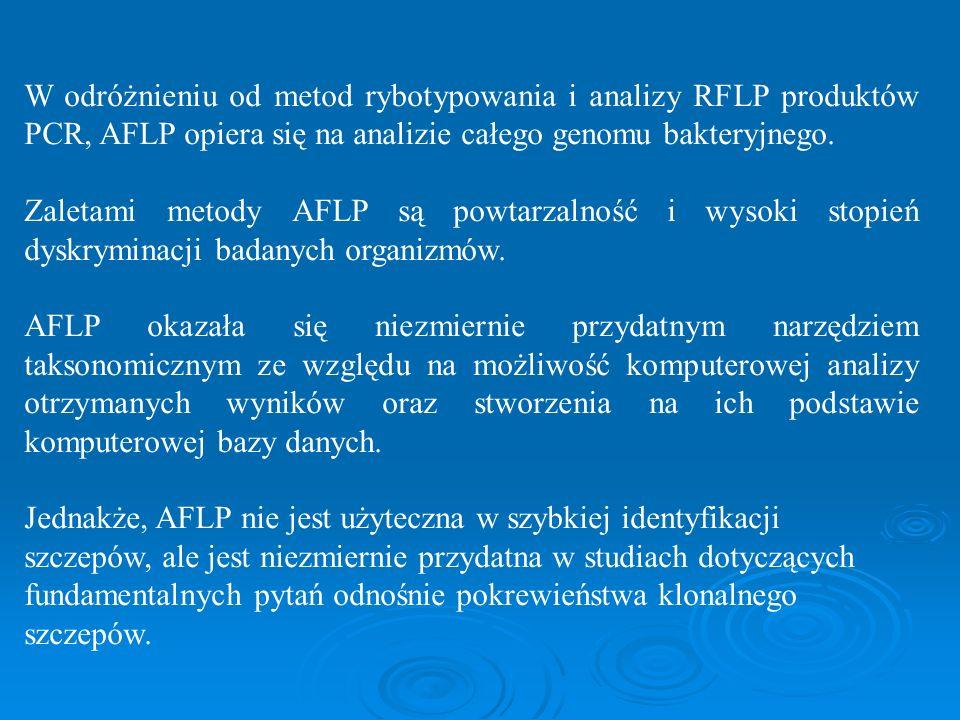 W odróżnieniu od metod rybotypowania i analizy RFLP produktów PCR, AFLP opiera się na analizie całego genomu bakteryjnego. Zaletami metody AFLP są pow