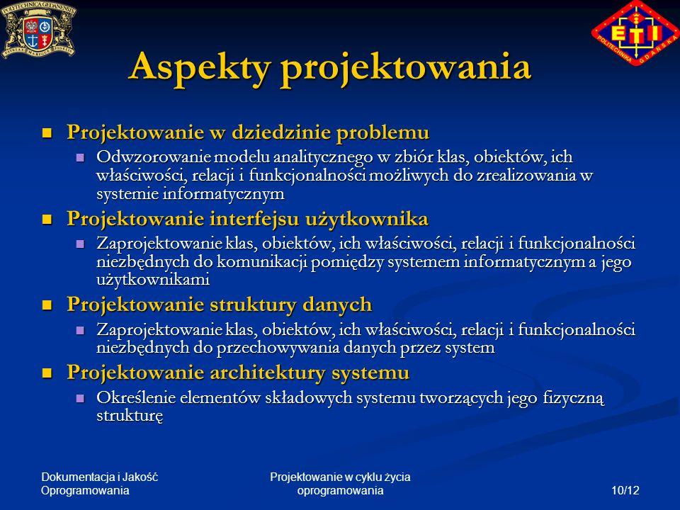 Dokumentacja i Jakość Oprogramowania 10/12 Projektowanie w cyklu życia oprogramowania Aspekty projektowania Projektowanie w dziedzinie problemu Projek