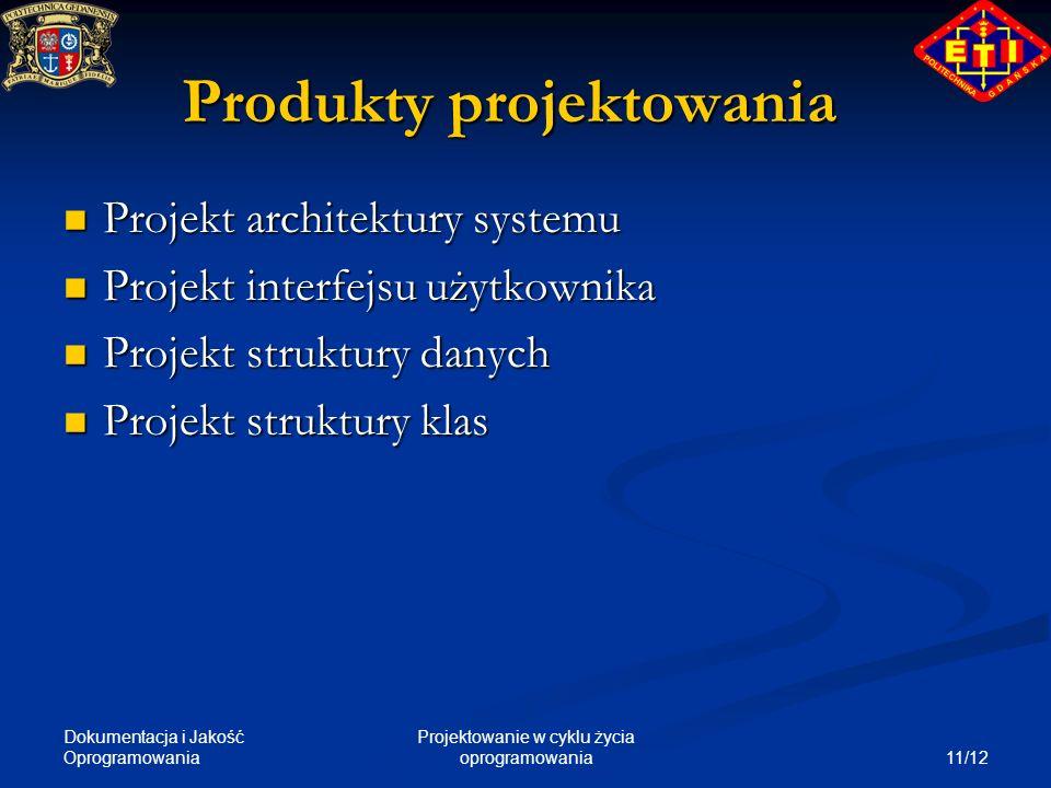 Dokumentacja i Jakość Oprogramowania 11/12 Projektowanie w cyklu życia oprogramowania Produkty projektowania Projekt architektury systemu Projekt arch