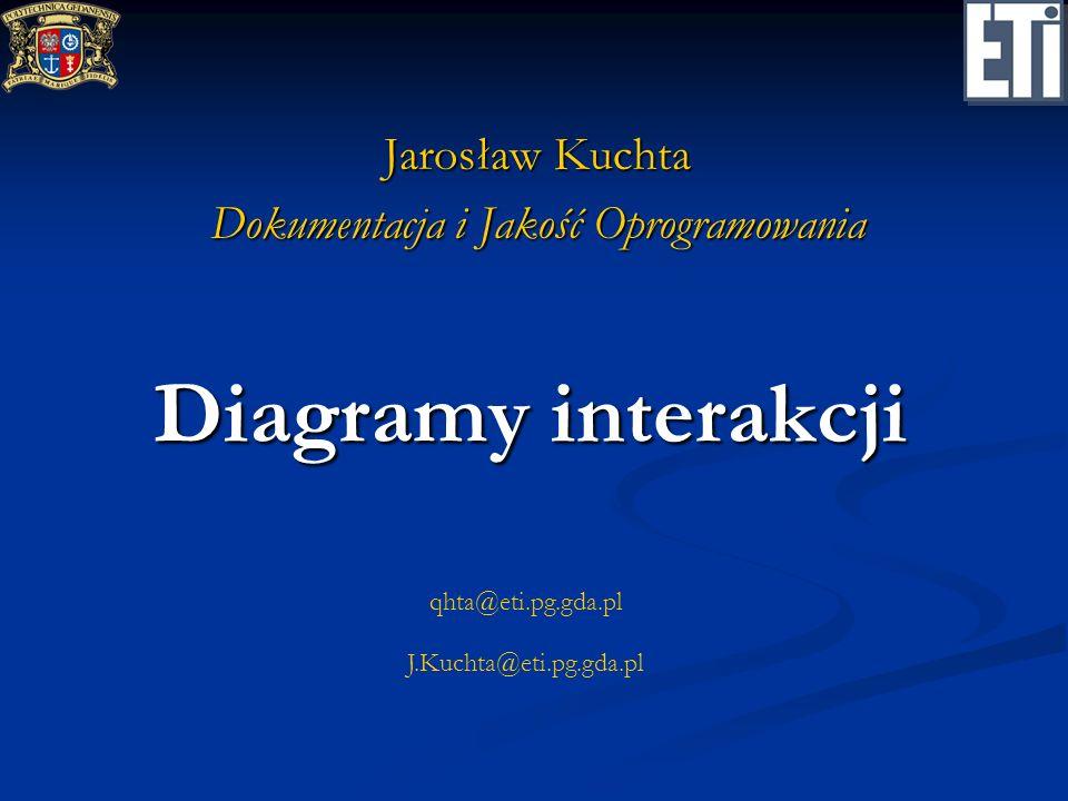 DiagramyInterakcji 2/20Diagramy interakcji Podstawowe pojęcia Interakcja (interaction) Interakcja (interaction) Przepływ komunikatów pomiędzy obiektami konieczny dla wykonania określonego zadania.