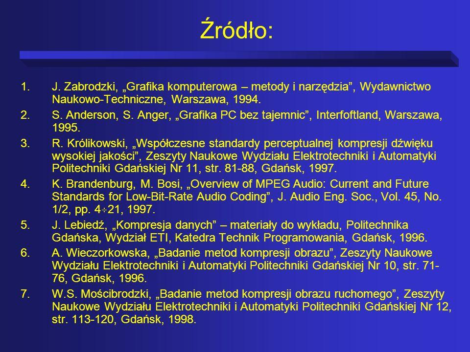 Źródło: 1.J. Zabrodzki, Grafika komputerowa – metody i narzędzia, Wydawnictwo Naukowo-Techniczne, Warszawa, 1994. 2.S. Anderson, S. Anger, Grafika PC