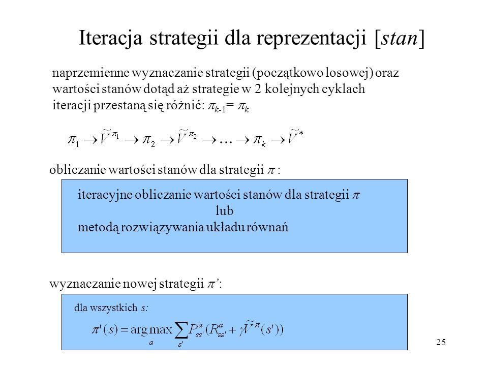 26 Iteracja wartości dla reprezentacji [stan] powtarzaj dla wszystkich s: mając dane: P, R aż nastąpi w kroku k