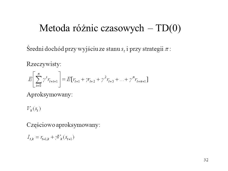 33 Metoda różnic czasowych – TD(0) Aktualizacja wartości stanu - ogólna postać: Częściowo aproksymowany dochód uzyskany po wyjściu ze stanu s t : Reprezentacja [stan,akcja]: