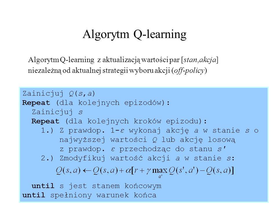 36 Algorytm SARSA Algorytm SARSA z aktualizacją wartości par [stan,akcja] zgodnie z aktualną strategią np.