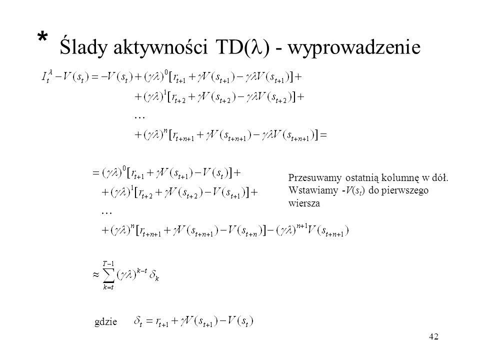 43 Ślady aktywności TD( ) W każdym kroku modyfikowane są wartości wszystkich stanów lub par [stan,akcja]: *