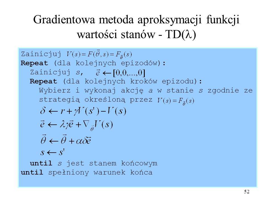 53 Metody wyznaczania kierunku modyfikacji wektora parametrów funkcji wartości Metoda spadku gradientu funkcji błędu (propagacja wsteczna w SSN) Metoda gradientów sprzężonych Metoda Newtona Metody quasi-Newtonowskie Metoda Levenberga-Marquardta - poprawka wektora wag *