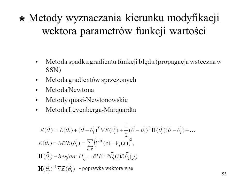 54 Metody kodowania stanów o parametrach ciągłych Metody kodowania (obliczania cech): Kodowanie metodą pokryć (CMAC, tile coding) Kodowanie przybliżone (coarse coding) Kodowanie przybliżone rozproszone - np.