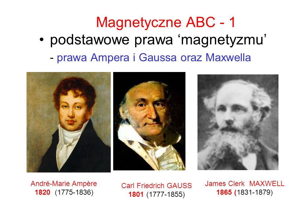 Magnetyczne ABC - 1 podstawowe prawa magnetyzmu - prawa Ampera i Gaussa oraz Maxwella James Clerk MAXWELL 1865 (1831-1879) André-Marie Ampère 1820 (17