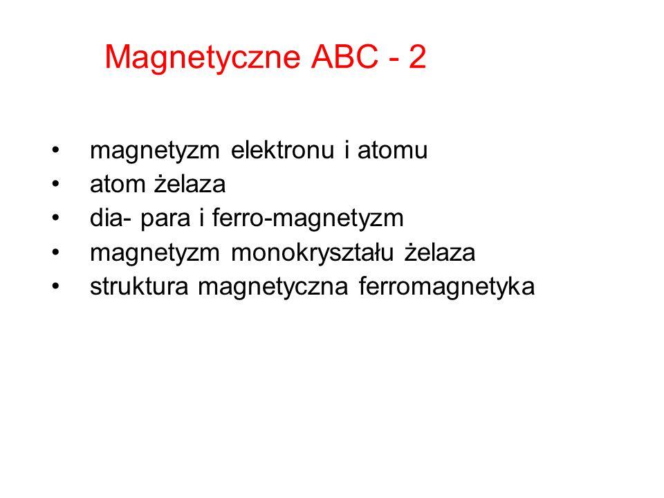 Magnetyczne ABC - 2 magnetyzm elektronu i atomu atom żelaza dia- para i ferro-magnetyzm magnetyzm monokryształu żelaza struktura magnetyczna ferromagn