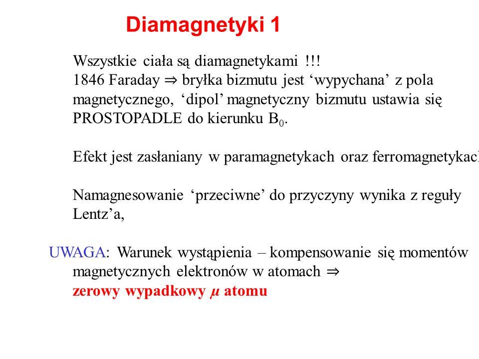 Diamagnetyki 1 Wszystkie ciała są diamagnetykami !!! 1846 Faraday bryłka bizmutu jest wypychana z pola magnetycznego, dipol magnetyczny bizmutu ustawi
