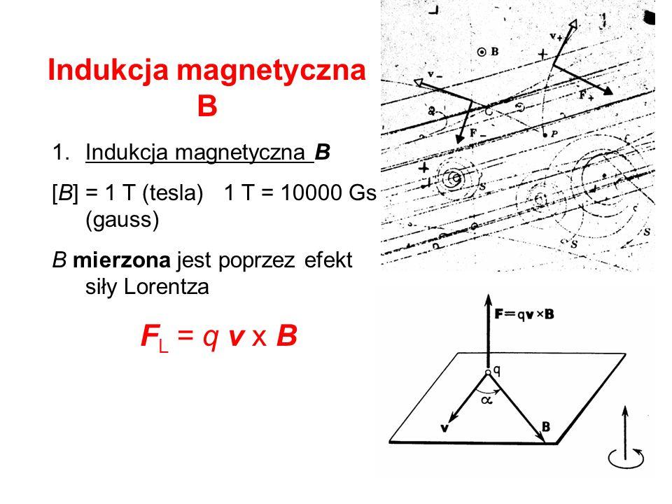 Indukcja magnetyczna B 1.Indukcja magnetyczna B [B] = 1 T (tesla) 1 T = 10000 Gs (gauss) B mierzona jest poprzez efekt siły Lorentza F L = q v x B