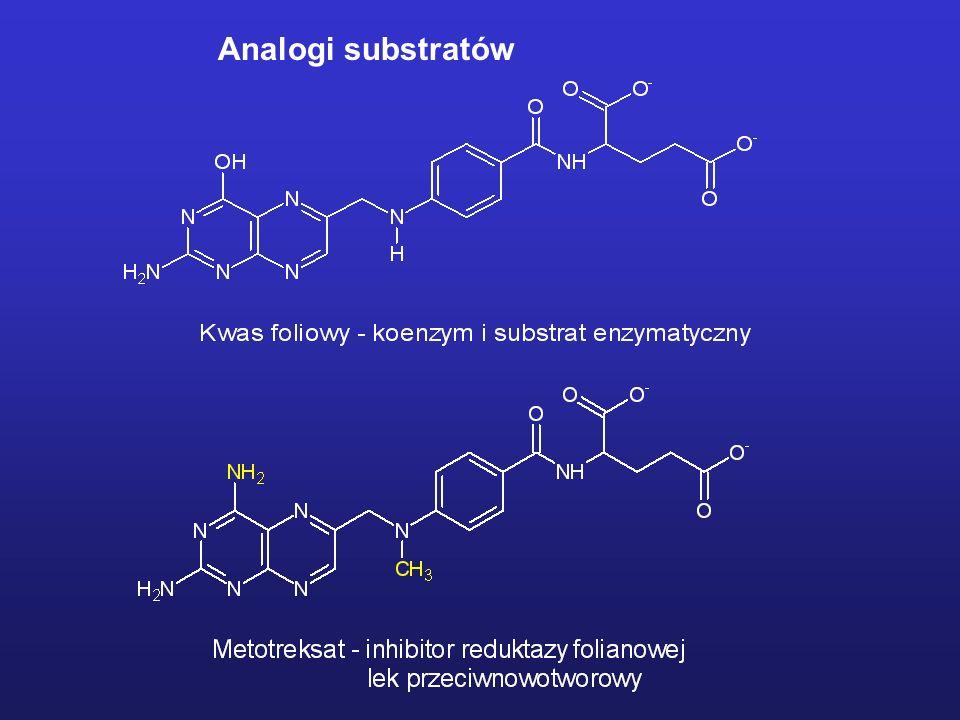 Inhibitory enzymu konwertującego angiotensynę (ACE) ACE – peptydaza zawierająca jon Zn(II) w centrum aktywnym Założenie: Inhibitor powinien być peptydem posiadającym w swojej strukturze C-końcową prolinę lub jej analog, związany peptydowo z analogiem alaniny zawierającym fragment struktury zdolny do kompleksowania jonu Zn(II).