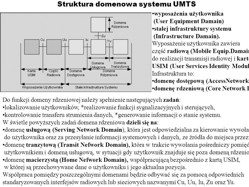 Struktura domenowa systemu UMTS wyposażenia użytkownika (User Equipment Damain) stałej infrastruktury systemu (Infrastructure Damain). Wyposażenie uży