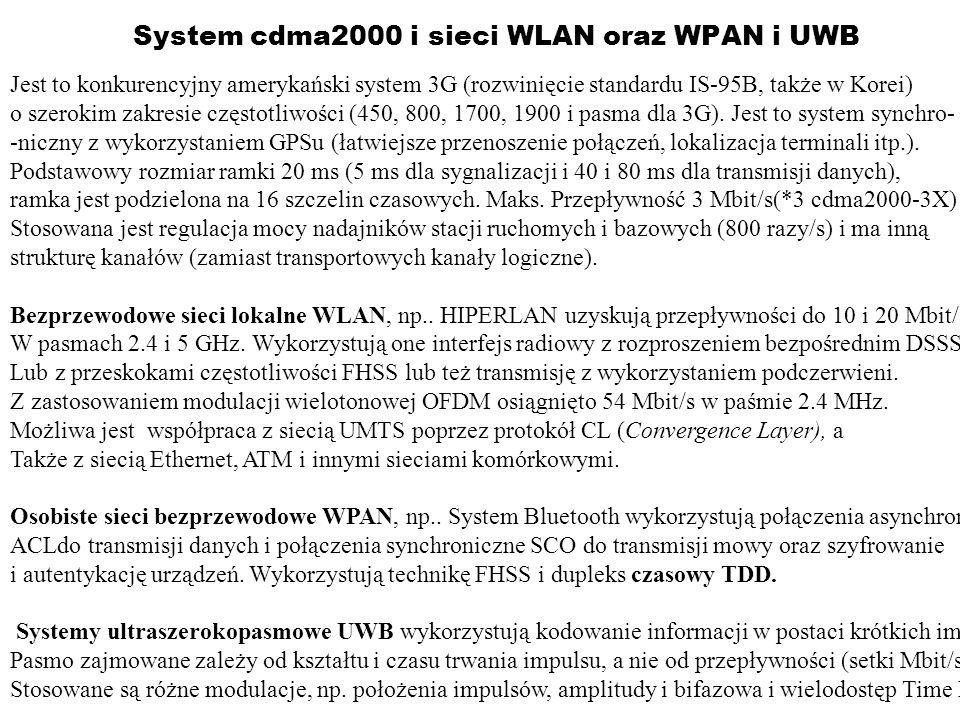 System cdma2000 i sieci WLAN oraz WPAN i UWB Jest to konkurencyjny amerykański system 3G (rozwinięcie standardu IS-95B, także w Korei) o szerokim zakr