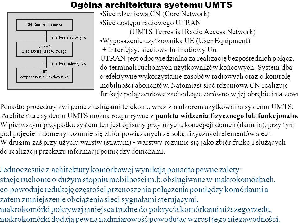 Ogólna architektura systemu UMTS Sieć rdzeniową CN (Core Network) Sieć dostępu radiowego UTRAN (UMTS Terrestial Radio Access Network) Wyposażenie użyt