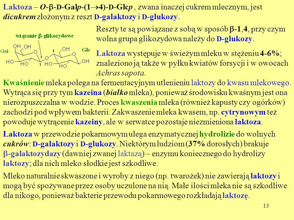 13 Laktoza – O- - D -Galp-(1 4)- D -Glcp, zwana inaczej cukrem mlecznym, jest dicukrem złożonym z reszt D -galaktozy i D -glukozy. Reszty te są powiąz