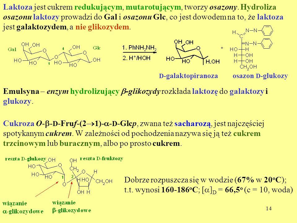 14 Laktoza jest cukrem redukującym, mutarotującym, tworzy osazony. Hydroliza osazonu laktozy prowadzi do Gal i osazonu Glc, co jest dowodem na to, że