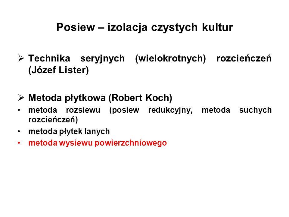 Posiew – izolacja czystych kultur Technika seryjnych (wielokrotnych) rozcieńczeń (Józef Lister) Metoda płytkowa (Robert Koch) metoda rozsiewu (posiew