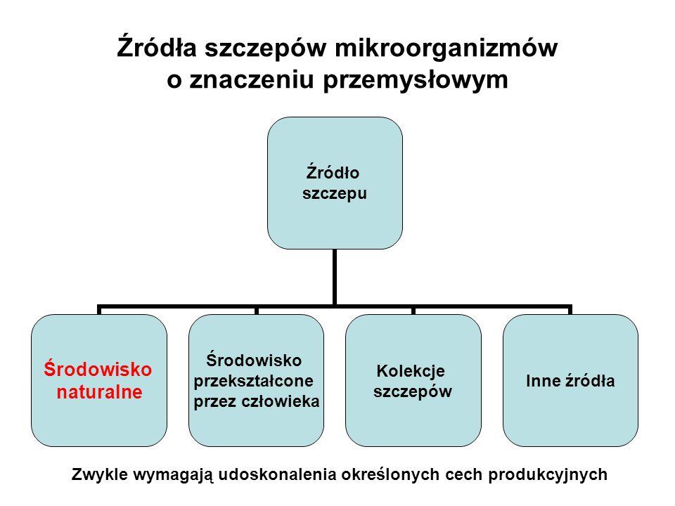 Źródła szczepów mikroorganizmów o znaczeniu przemysłowym Źródło szczepu Środowisko naturalne Środowisko przekształcone przez człowieka Kolekcje szczep