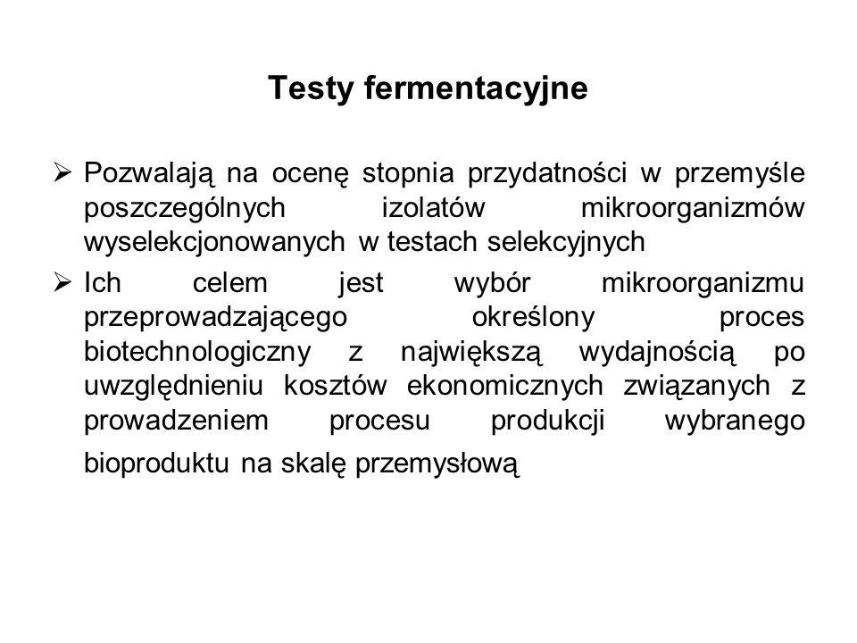 Testy fermentacyjne Pozwalają na ocenę stopnia przydatności w przemyśle poszczególnych izolatów mikroorganizmów wyselekcjonowanych w testach selekcyjn