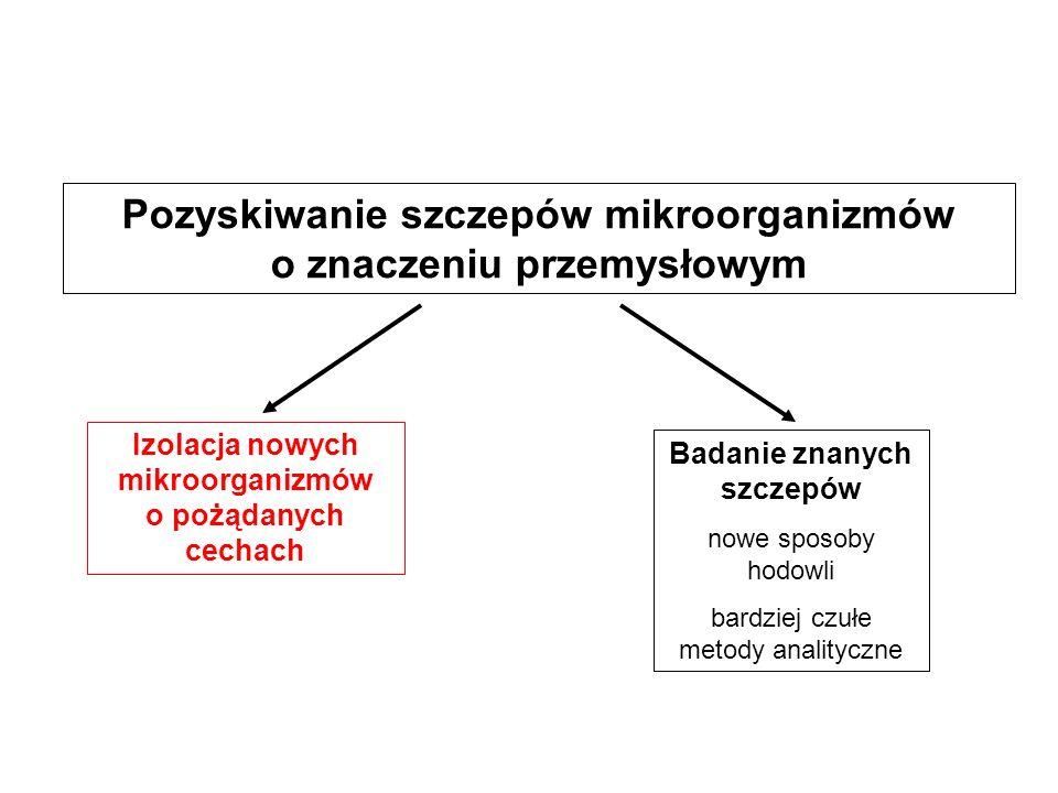 Pozyskiwanie szczepów mikroorganizmów o znaczeniu przemysłowym Izolacja nowych mikroorganizmów o pożądanych cechach Badanie znanych szczepów nowe spos