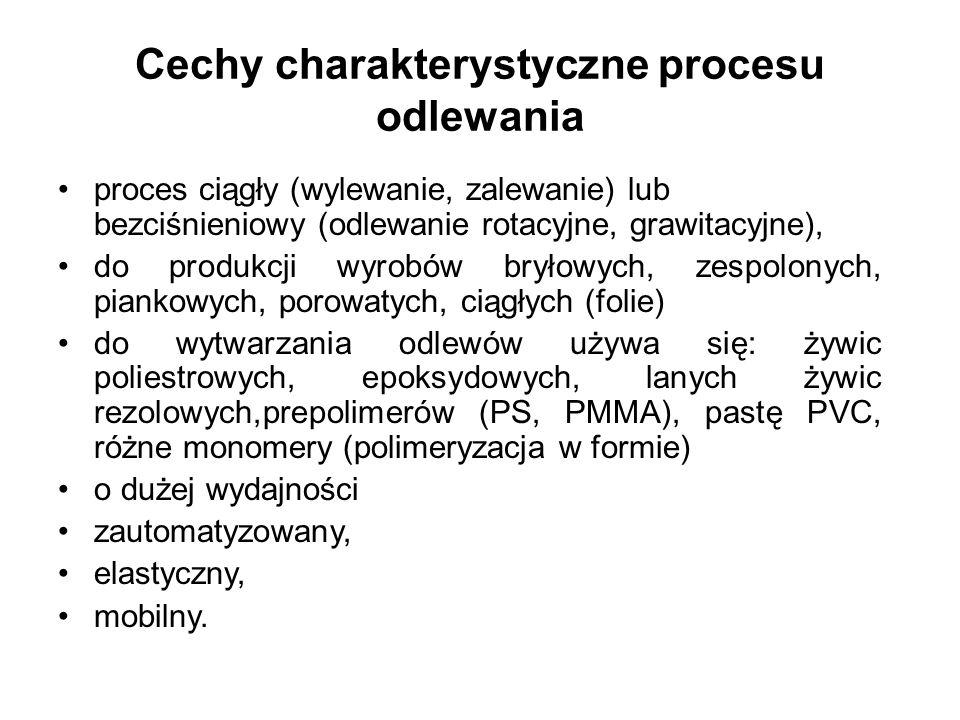 Cechy charakterystyczne procesu odlewania proces ciągły (wylewanie, zalewanie) lub bezciśnieniowy (odlewanie rotacyjne, grawitacyjne), do produkcji wy