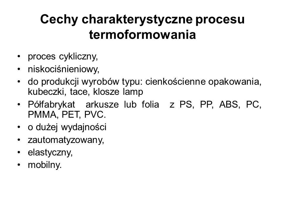 Cechy charakterystyczne procesu termoformowania proces cykliczny, niskociśnieniowy, do produkcji wyrobów typu: cienkościenne opakowania, kubeczki, tac