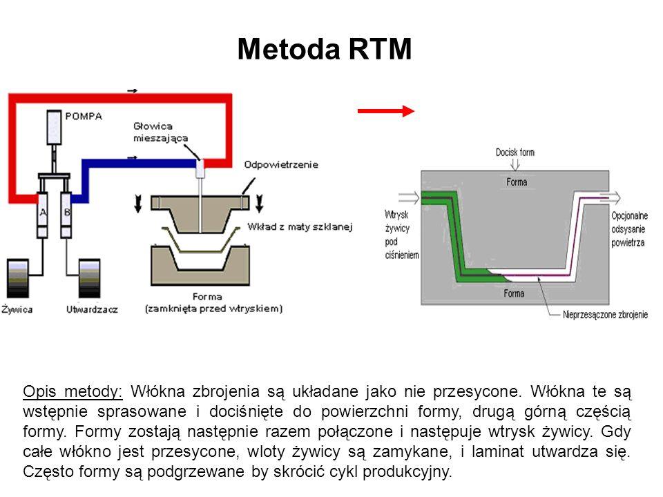 Metoda RTM Opis metody: Włókna zbrojenia są układane jako nie przesycone. Włókna te są wstępnie sprasowane i dociśnięte do powierzchni formy, drugą gó