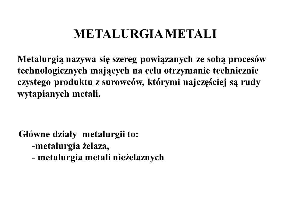METALURGIA METALI Metalurgią nazywa się szereg powiązanych ze sobą procesów technologicznych mających na celu otrzymanie technicznie czystego produktu