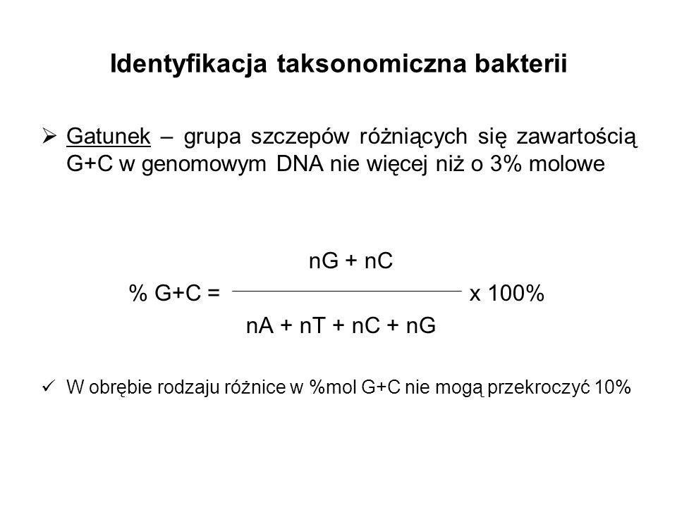 Cechy umożliwiające identyfikację bakterii morfologia skład chemiczny ściany komórkowej obecność inkluzji komórkowych i substancji zapasowych zdolność do tworzenia pigmentów sposób odżywiania wymagania pokarmowe źródła C, N, S skład jakościowy i ilościowy produktów fermentacji wymagania tlenowe zakres temperatur i pH wzrostu wrażliwość na antybiotyki patogenność zależności symbiotyczne z innymi organizmami środowisko występowania obecność określonych antygenów (charakterystyka immunologiczna) sekwencja DNA genomowego