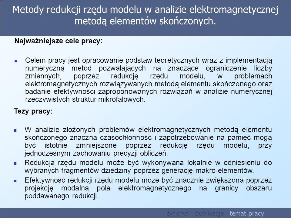 Metody redukcji rzędu modelu w analizie elektromagnetycznej metodą elementów skończonych.