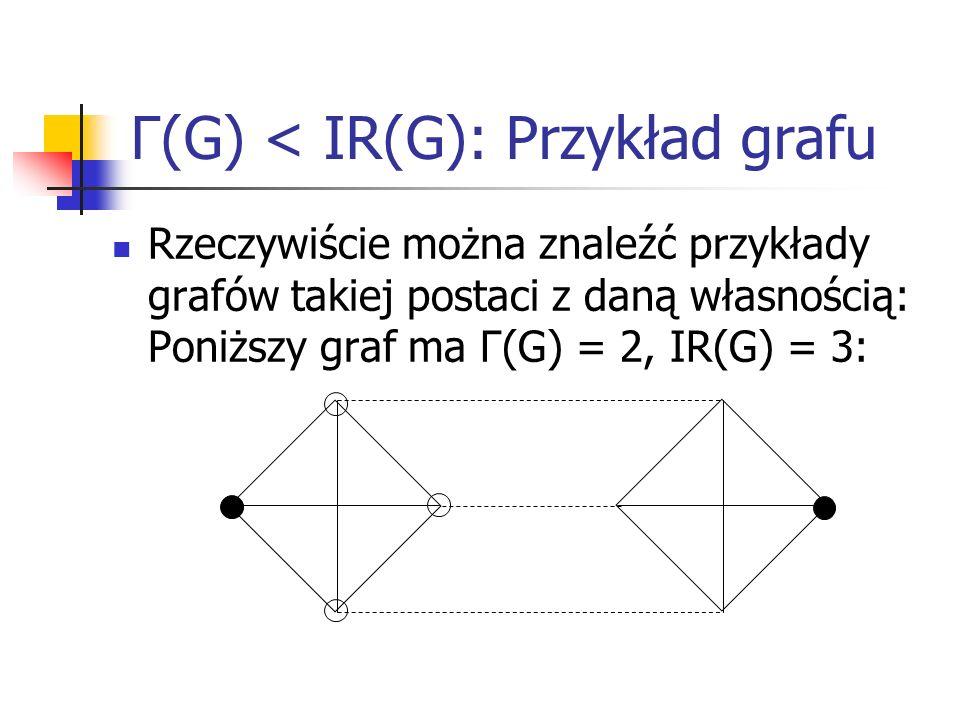 Rodziny grafów spełniających Γ(G) < IR(G) Okazuje się, że każdy graf złożony z dwóch grafów K n o wierzchołkach połączonych parami przez n – k krawędzi ma własność Γ(G) k 3.