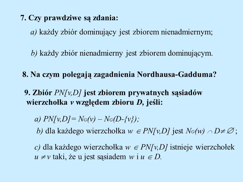 7. Czy prawdziwe są zdania: a) każdy zbiór dominujący jest zbiorem nienadmiernym; b) każdy zbiór nienadmierny jest zbiorem dominującym. 8. Na czym pol