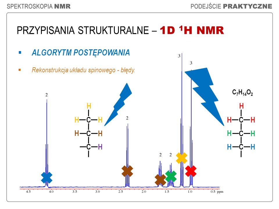 PRZYPISANIA STRUKTURALNE – 1D 1 H NMR ALGORYTM POSTĘPOWANIA Rekonstrukcja układu spinowego - błędy. C 7 H 14 O 2 CH H H C H H C H H CH H H C H H C H