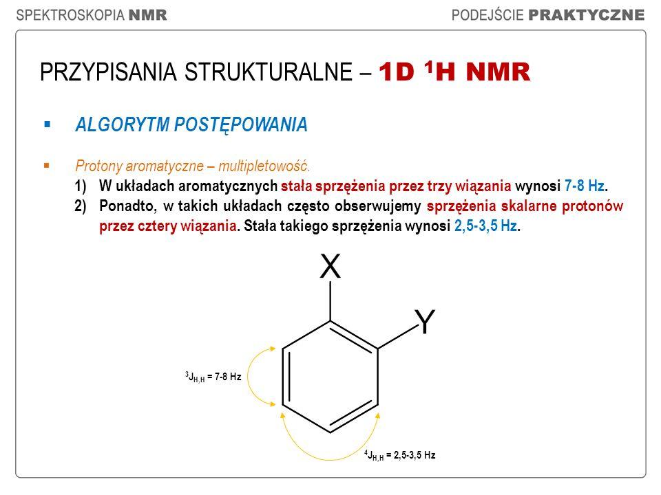 PRZYPISANIA STRUKTURALNE – 1D 1 H NMR ALGORYTM POSTĘPOWANIA Protony aromatyczne – multipletowość. 1)W układach aromatycznych stała sprzężenia przez tr