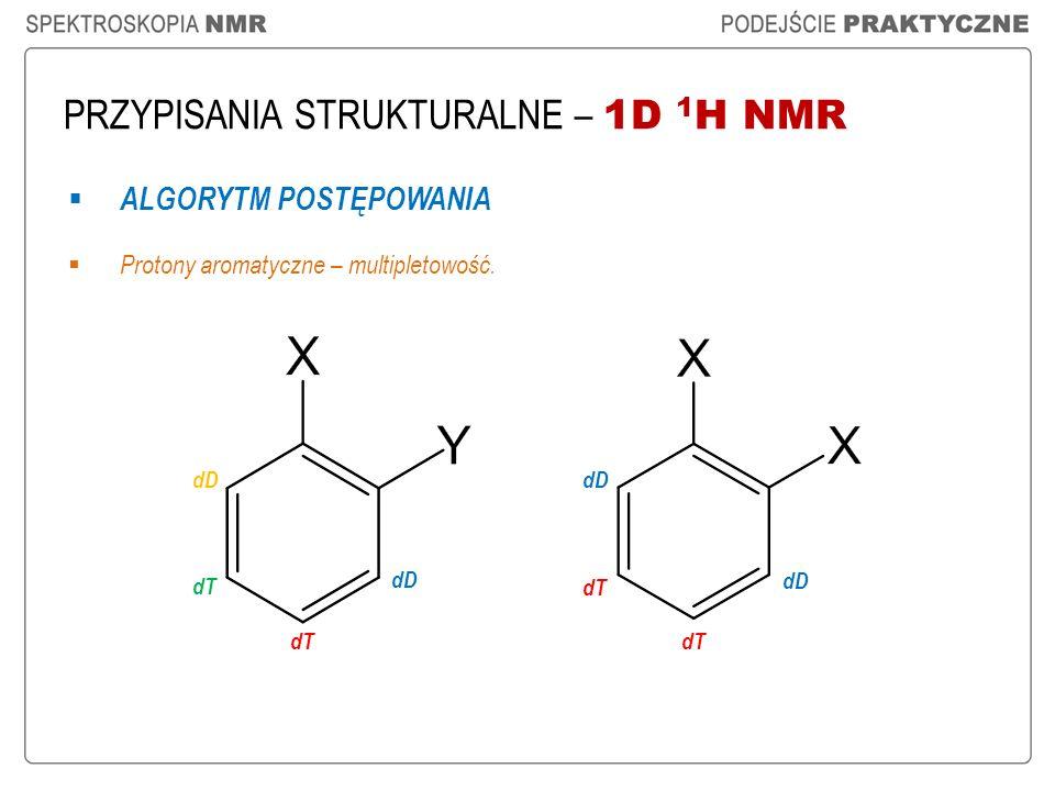 PRZYPISANIA STRUKTURALNE – 1D 1 H NMR ALGORYTM POSTĘPOWANIA Protony aromatyczne – multipletowość. dD dT dD dT