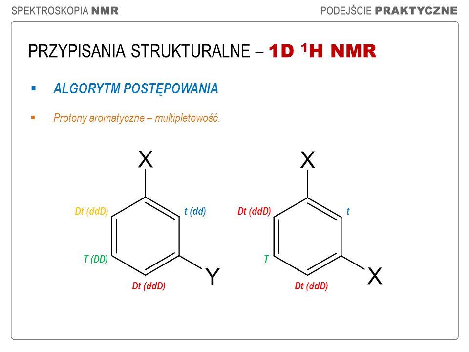 PRZYPISANIA STRUKTURALNE – 1D 1 H NMR ALGORYTM POSTĘPOWANIA Protony aromatyczne – multipletowość. t (dd) Dt (ddD) T (DD) Dt (ddD) t T