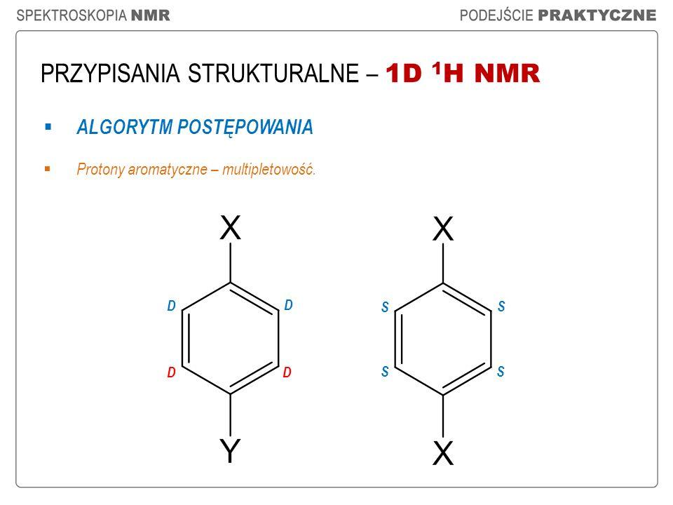 PRZYPISANIA STRUKTURALNE – 1D 1 H NMR ALGORYTM POSTĘPOWANIA Protony aromatyczne – multipletowość. D D DD S S SS