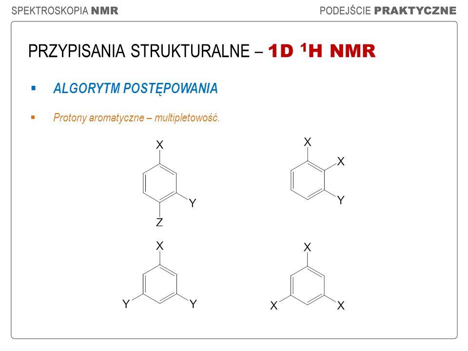 PRZYPISANIA STRUKTURALNE – 1D 1 H NMR ALGORYTM POSTĘPOWANIA Protony aromatyczne – multipletowość.