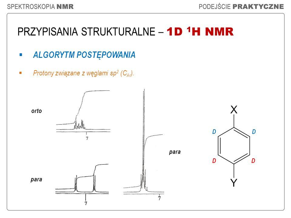 PRZYPISANIA STRUKTURALNE – 1D 1 H NMR ALGORYTM POSTĘPOWANIA Protony związane z węglami sp 2 (C Ar ). orto para D D D D