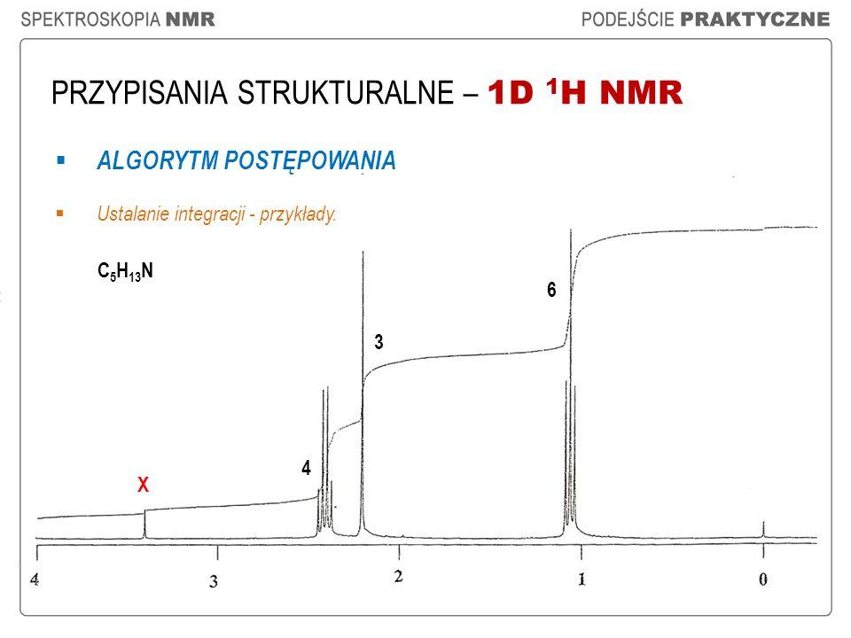 PRZYPISANIA STRUKTURALNE – 1D 1 H NMR ALGORYTM POSTĘPOWANIA Ustalanie integracji - przykłady. C 5 H 13 N 3 6 4 X
