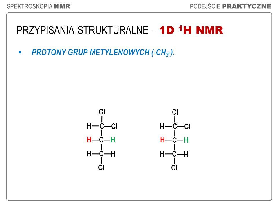 PRZYPISANIA STRUKTURALNE – 1D 1 H NMR PROTONY GRUP METYLENOWYCH (-CH 2 -). Cl C C H H H H C H C C H H H H C H