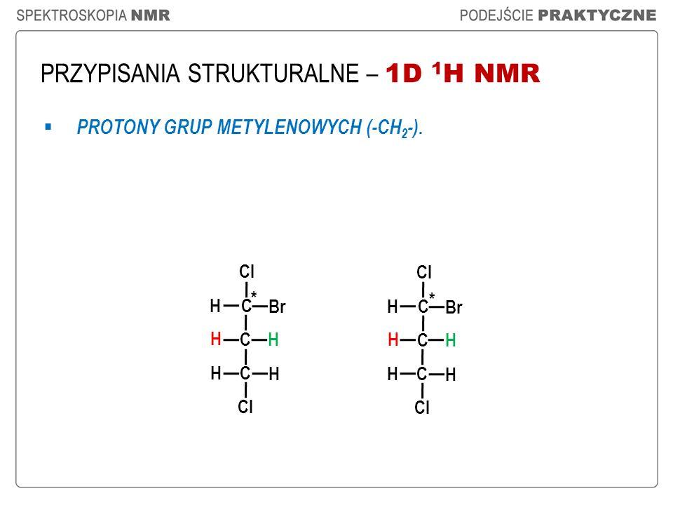 PRZYPISANIA STRUKTURALNE – 1D 1 H NMR PROTONY GRUP METYLENOWYCH (-CH 2 -). Cl C C H H H H C H Br Cl C C H H H H C H Br * *