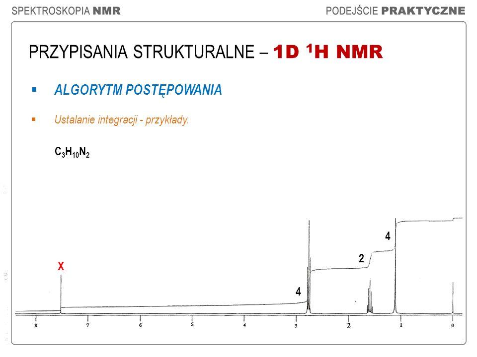 PRZYPISANIA STRUKTURALNE – 1D 1 H NMR ALGORYTM POSTĘPOWANIA Ustalanie integracji - przykłady. C 3 H 10 N 2 2 4 4 X
