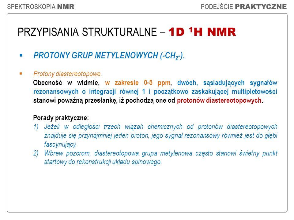 PRZYPISANIA STRUKTURALNE – 1D 1 H NMR PROTONY GRUP METYLENOWYCH (-CH 2 -). Protony diastereotopowe. Obecność w widmie, w zakresie 0-5 ppm, dwóch, sąsi