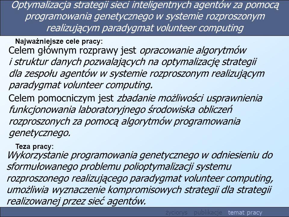 Optymalizacja strategii sieci inteligentnych agentów za pomocą programowania genetycznego w systemie rozproszonym realizującym paradygmat volunteer co