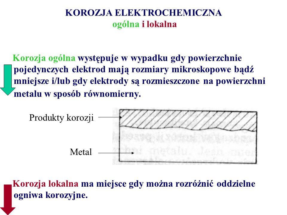 KOROZJA ELEKTROCHEMICZNA ogólna i lokalna Korozja ogólna występuje w wypadku gdy powierzchnie pojedynczych elektrod mają rozmiary mikroskopowe bądź mn