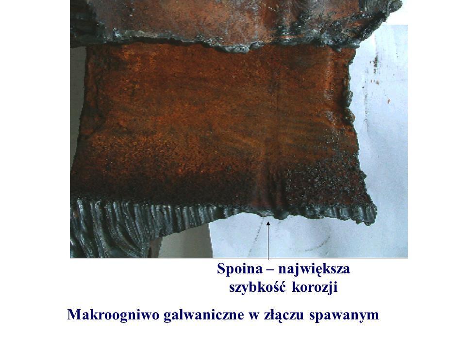 Makroogniwo galwaniczne w złączu spawanym Spoina – największa szybkość korozji