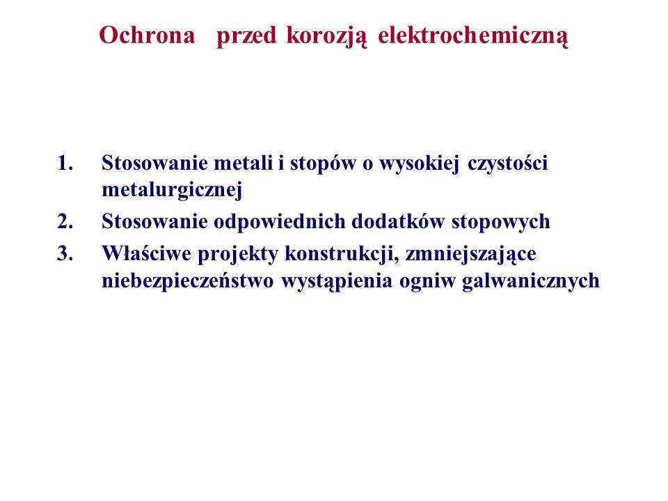 Ochrona przed korozją elektrochemiczną 1.Stosowanie metali i stopów o wysokiej czystości metalurgicznej 2.Stosowanie odpowiednich dodatków stopowych 3
